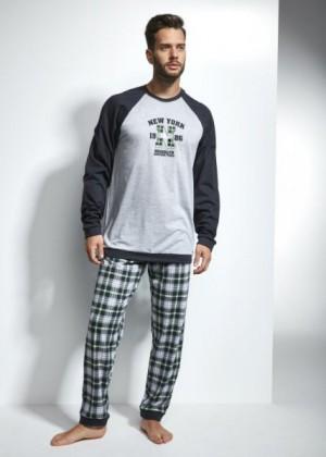 Cornette New York 197/103 Pánské pyžamo XXL šedo-zelená