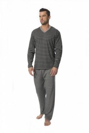 Rossli SAM-PY-117 I Pánské pyžamo XL šedá-proužky