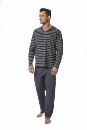 Rossli SAM-PY-127 Pánské pyžamo XXL šedá-proužky