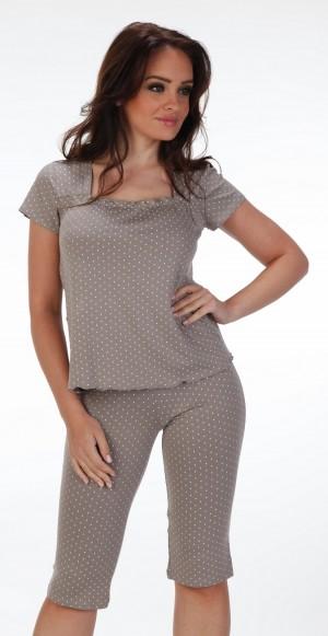 Dámské pyžamo De Lafense s puntíky 527 3XL