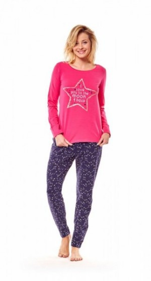 Henderson 36171 42x Tmavě růžové Dámské pyžamo XL růžová