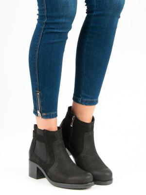 Luxusní černé kožené botky