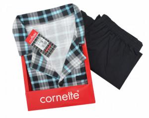 Cornette Mike 114/32 Šedo-modré Pánské pyžamo L šedo-modrá