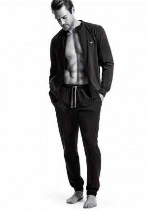 Pánské pyžamo 111795 CC570 00020 černá - Emporio Armani černá