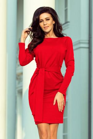 Červené dámské šaty se širokým páskem k zavazování 209-6