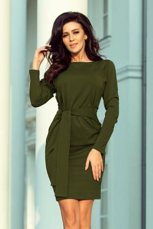 Dámské šaty v khaki barvě se širokým páskem k zavazování 209-5