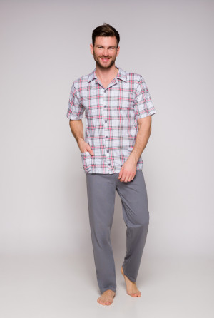 Pánské pyžamo 921 GRACJAN KR M-XL šedé káry