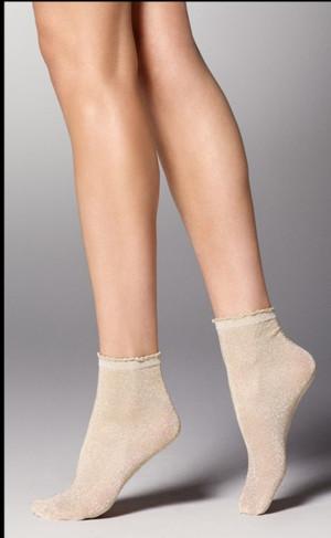 Dámské ponožky MAYA  béžová/zlatá UNICA