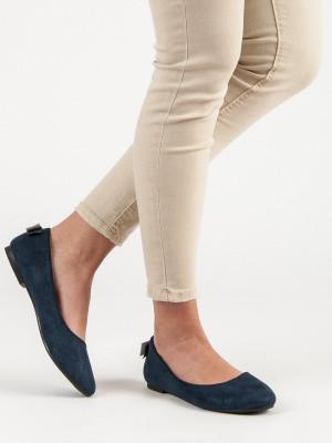 Komfortní dámské modré  baleríny bez podpatku