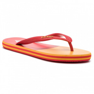 Plážové žabky F92Z04-BB00H červeno-oranžová - GUESS červeno-oranžová