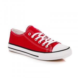 Pohodlné červené textilní tenisky