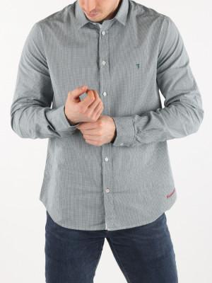 Košile Trussardi Shirt Slim Fit Trend Collar Micro Vichy Str Šedá