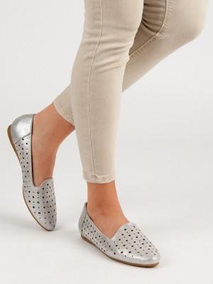 Jedinečné  baleríny šedo-stříbrné dámské bez podpatku