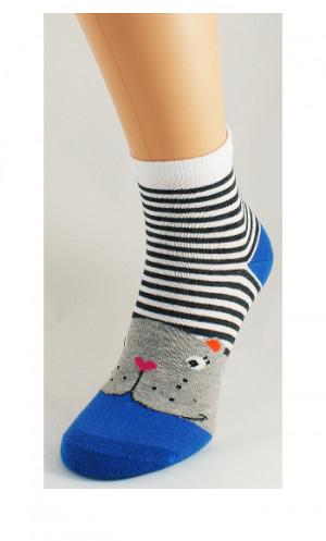 Dámské ponožky Bratex Ona Classic 0136 Zvířátka bílá-modrá 39-41