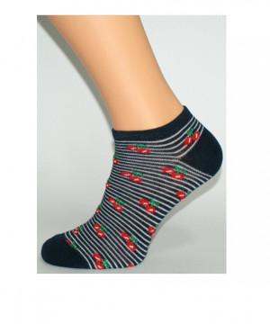 Dámské vzorované ponožky Bratex 0242 bílá-tm.modrá 36-38