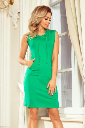 Zelené dámské šaty s klokaní kapsou a kapucí MM 009-7