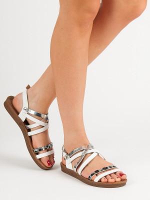 Luxusní bílé dámské  sandály bez podpatku