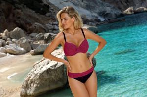 Dvoudílné dámské plavky Self S 940 M 19 růžová-černá 38D-M
