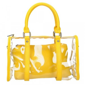 Průhledná kabelka se žlutým pouzdrem
