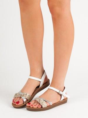 Trendy dámské  sandály bílé bez podpatku