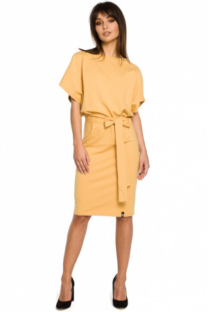 Dámské šaty B058 - BEwear tmavě žlutá L/XL
