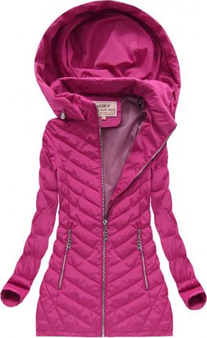 Růžovofialová prošívaná bunda s kapucí (W620) růžová XL (42)