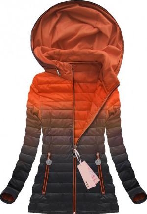 Bunda ombre s kapucí v oranžově-černé barvě (W616) oranžová S (36)