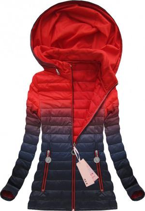 Bunda ombre s kapucí v červeně-tmavě modré barvě (W616) červená S (36)