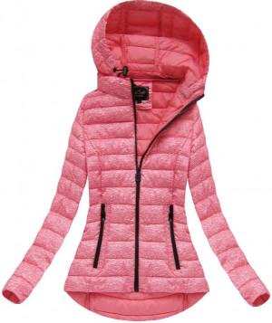 Růžová prošívaná bunda s kapucí (7210) růžová S (36)