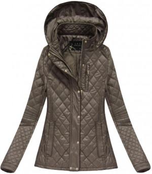Hnědá prošívaná bunda s kapucí (X7059AX) hnědá S (36)