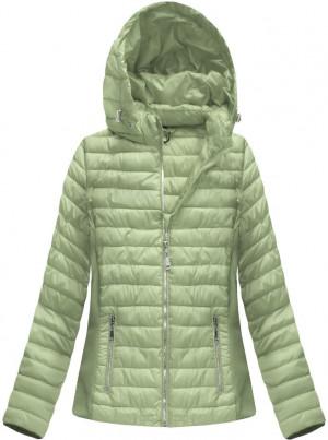 Prošívaná bunda v olivové barvě s kapucí (B1077-30) zelená XXL (44)