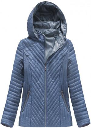 Světle modrá prošívaná bunda s kapucí (XB1501X) modrá XXL (44)