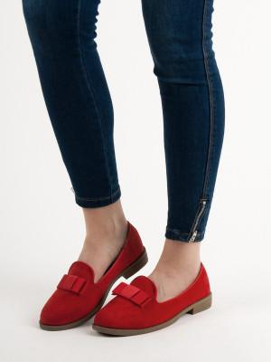Zajímavé  polobotky červené dámské na plochém podpatku
