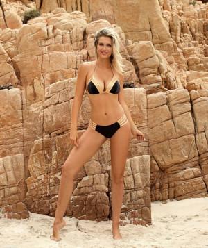 Dámské plavky Palm Beach S555VE19 - Self černá ze zlatou