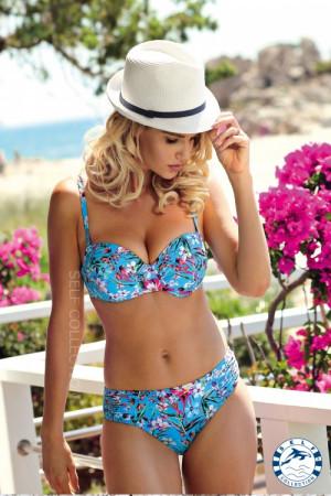 Dámské plavky Flowers S734G19 - Self modrá - květy