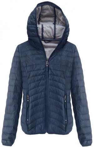 Tmavě modrá prošívaná bunda s kapucí (B1078) tmavěmodrá S (36)