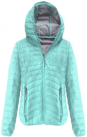Prošívaná bunda v mátové barvě s kapucí (B1078) zelená S (36)