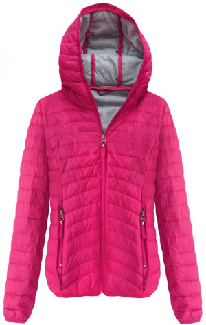 Prošívaná bunda v amarantové barvě s kapucí (B1078) růžová S (36)