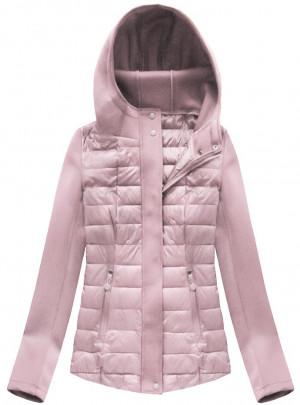 Prošívaná bunda ve starorůžové barvě s neoprénem (B1062-30) růžová S (36)