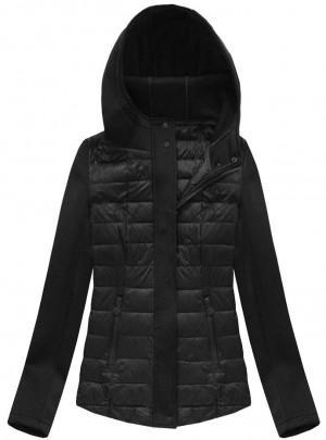 Černá prošívaná bunda s neoprénem (B1062-30) černá S (36)