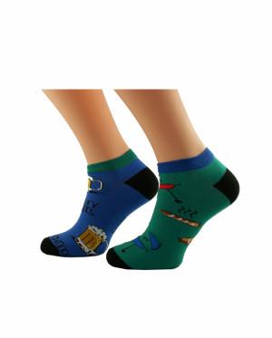 Pánské nepárové kotníkové ponožky Bratex Popsox 4479 modrofialová-oranžová 44-46