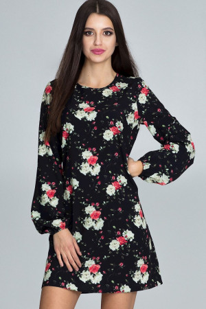Dámské šaty M596 - Figl černá s květy