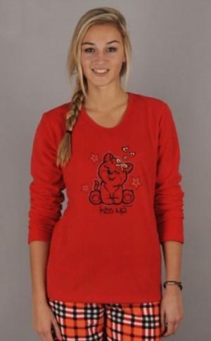 Dámské pyžamo Kočka - Vienetta červená vzor