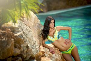 Spodní díl plavek Kristen K13 - Fantasy zelená