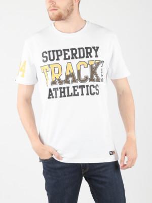 Tričko Superdry Super Track Metallic Box Fit T Bílá