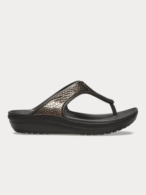 Žabky Crocs Sloane MetalTxt Flip W Gunmetal/Black Černá