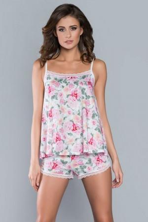 Italian Fashion Nasturcja ú.r. kr.k. Dámské pyžamo M bílá/květina