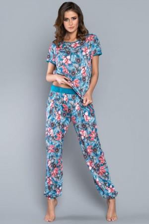 Italian Fashion Opuncja kr.r. dl.k. Dámské pyžamo L tyrkysová