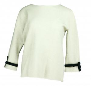 Dámský svetr na rukávech zdobený bílým plisovaným volánkem a černou stužkou SW 0202 - Gemini šedá L/XL