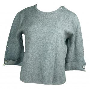 Dámský svetr na rukávech zdobený perličkami - Gemini šedá S/M